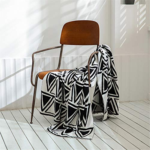 Tiro de punto suave Manta Blanco Blanco Geométrico Acogedor de punto Textura de punto Manta de tela escocesa para colcha Sofá Sofá cubierta, 130x160cm,Negro
