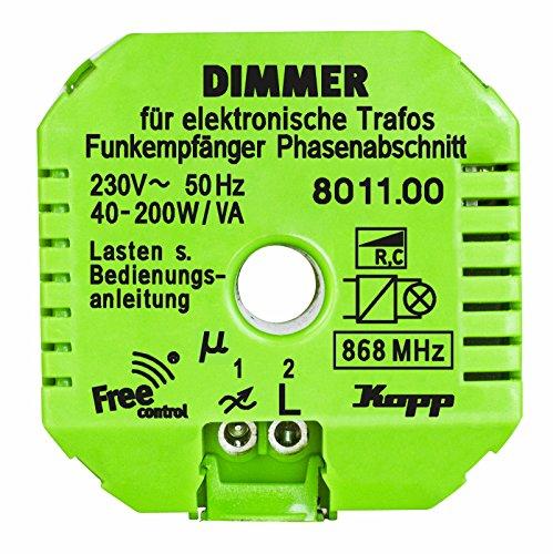 Kopp 801100321 Funk-Empfänger Free-control mit Dimmfunktion für elektronische Trafos Neue Generation