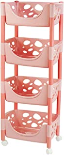 Kitchen Storage Trolley, 3/4 Tier Removable Plastic Rolling Cart with Castors,for Living Room Bathroom Utility and Organis...