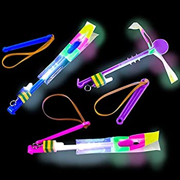 ArtCreativity Light-Up Slingshot Dragonfly for Kids Set of 12 LED Sling Shots for Nighttime Fun Outdoor Flying Toys for Boys & Girls Glow Light-Up Party Favors and Goodie Bag Fillers for Children