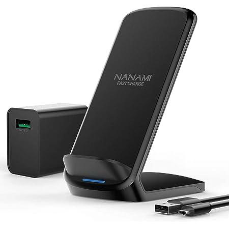 NANAMI ワイヤレス急速充電器 (QC3.0 急速充電器付き) USB Type-C端子 置くだけ充電器 セット (Qi/PSE認証済み) iPhone 13/13 Pro/13 Pro Max/13 Mini/12/12 Pro/SE2/11/11 Pro/Xs/XR/Xs Max/X/8/8 Plus、Galaxy S21 (Ultra) /S20 /S10 /S10+ /S9 /S9+ /S8 / 8+ /Note 10 /Note 9 、Sony Xperia1 Ⅱ/XZ3、LG など 各機種対応 7.5W/10W/15W出力 無線充電器 ワイヤレスチャージャー 秋のギフト 黒