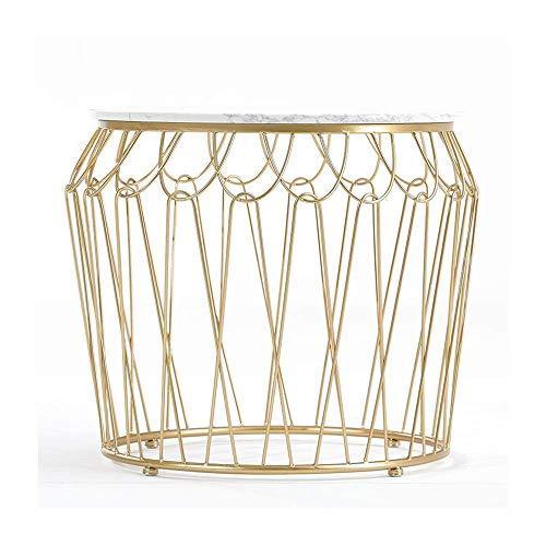 Carl Artbay Home & Selected furniture/Nordic marmer zijtafel woonkamer kunst ijzer hoek salontafel slaapkamer lichttafel balkon tafel rond klein 19,6 x 19,6 (kleur: zwart)