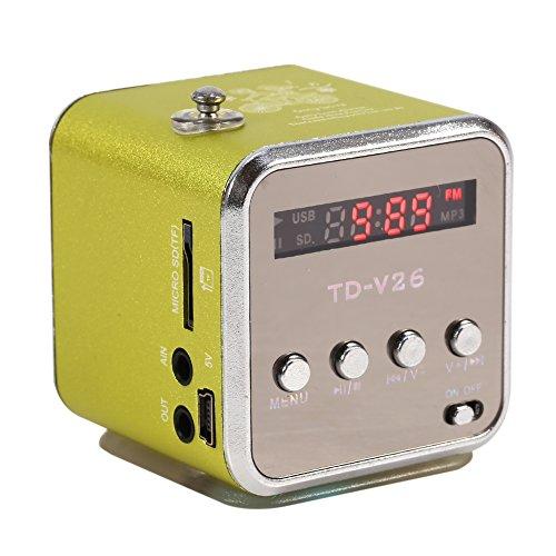 Zerone Digitaler Lautsprecher Mini-Lautsprecher Musik-Player FM Radio Stereo MP3 MP4 Musik-Player PC Mode Unterstützung TF Karte USB Disk FM (Grün)