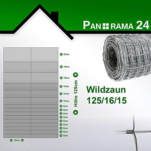 Wildzaun Forstzaun Weidezaun Rollenware Verzinkt 125/16/15 50m
