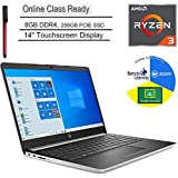 "HP 14 14"" Touchscreen Laptop Computer, AMD Ryzen 3 3200U up to 3.5GHz (Beats i5-7200U), 8GB DDR4, 256GB PCIe SSD, Microphone, Online Class Ready, Windows 10, BROAGE 3-in-1 Stylus 64GB Flash Drive"