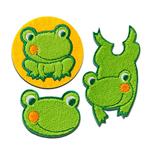 Parches - Set rana animal - verde - diferentes tamaños - termoadhesivos bordados aplique para ropa