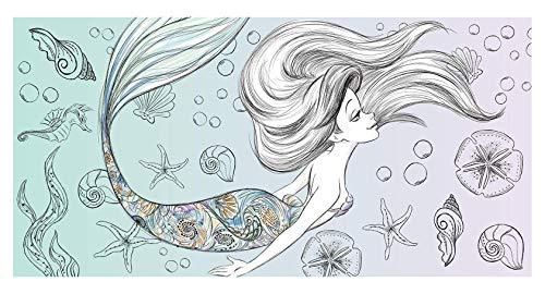 Theonoi Toalla para niños – Toalla para sauna, playa, ducha, baño, princesa, sirena, retro, clásica, sirena, 70 x 140 cm, algodón, regalo ideal para niñas