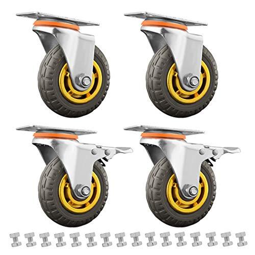 KDDEON 4 Ruedas Giratorias con Frenos,Ruedas para Muebles,Banda de Rodadura de Goma,Rueda de Carretilla Industrial,con Tornillos,Capacidad de Carga de 600kg (2 Swivel 2 Brakes,100mm)