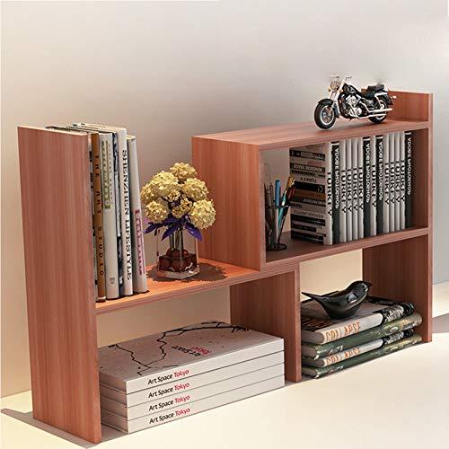 BONJIU Bookshelf Creative Simple Desktop, Creative Desktop Telescopic Storage Rack Multi-Function Bookshelf Furniture for Office-Desk