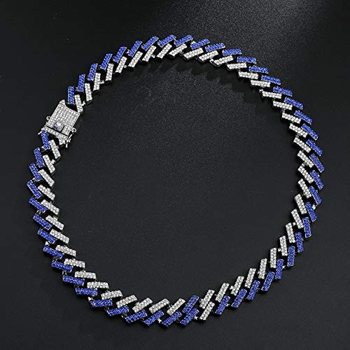 ISMILE 15Mm Hip Hop Out Zircon Link Chain Necklaces For Men'S Fashion Jewelry 1 Set