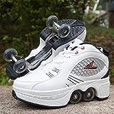 Pinkskattings@ Chaussures De Roller pour Hommes Et Femmes Adultes Chaussures De Déformation Roues Quad Sports De Plein Air Chaussures À Double Usage pour Enfants Cadeaux,38