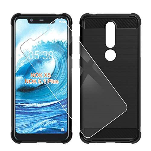QFSM Custodia per Nokia 5.1 Plus Protettiva Nero Fibra di Carbonio TPU Airbag Quattro Angoli Anti-Knock Cover Case Black Silicone Shell + 1 PCS Vetro Temperato Pellicola Vetro Glass