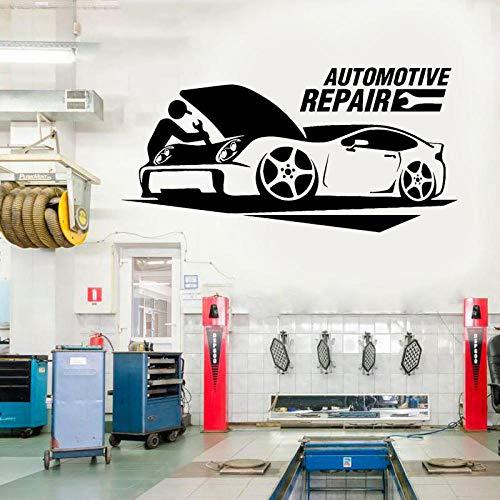 Automotive Reparatie Auto Service Garage Decal Vinyl Interieur Raam Sticker Garage Decor Mural Verwijderbare Muur Papier 116x57cm
