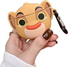 BONTOUJOUR AirPods Case, Creative Little Forest King Lion Baby Design AirPods Case, Cute Lion Soft Silicone Earphone Protection Skin for AirPods1&2+Hook