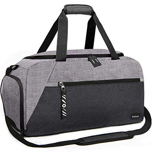 Rotot Sports Duffle Gym Bag, Men Women Duffel with Waterproof Shoe Compartment Pouch, Weekender Travel with a Water-resistant Insulated Wet Pocket Cooler (33L, Gray)