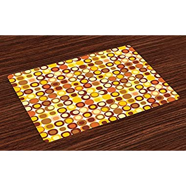 Ambesonne Mid Century Place Mats Set of 4 by, Kitsch and Retro Styled Round Edged Square Pattern in Old Earth Tones, Washable Placemats for Dining Room Kitchen Table Decoration, Brown Yellow Coral
