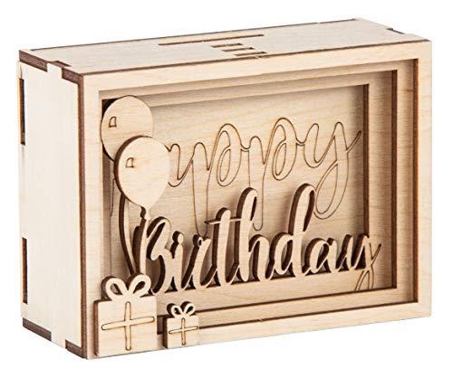 Rayher 62922505 DIY Geldgeschenk Verpackung Birthday für Geburtstag, 3D Geschenkbox aus Holz zum Gestalten, 13-teilig, 11,5x8,5x5 cm