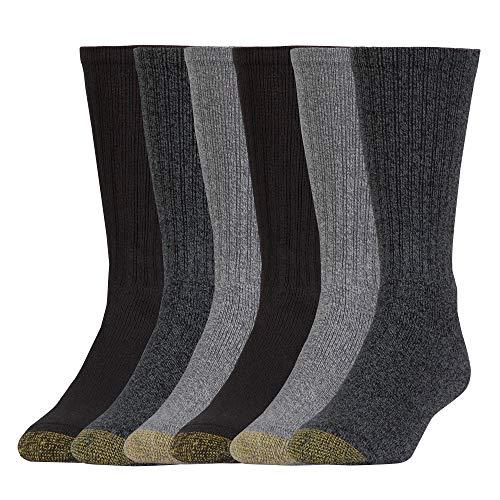 Gold Toe mens Harrington Crew, 6 Pairs Casual Sock, Charcoal/Light Grey/Black, Shoe Size 6-13 US