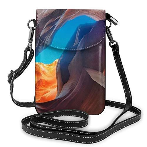 Bolso ligero del teléfono celular de la PU, Antelope Canyon pequeño Crossbody Bolsos de hombro cartera Pounch bolso para las mujeres, color Negro, talla Talla única