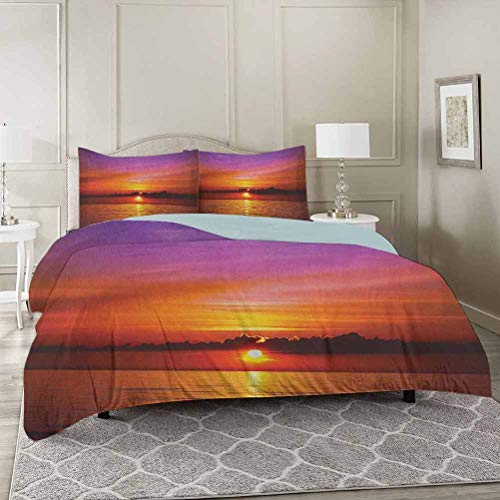 Ocean 100% Washed Microfiber 3pcs Bedding Set California King, Romantic Sunset on The Beach Sun Rays Reflection on the Sea Colorful Sky Pi Soft and Breathable with Zipper Closure & Corner Ties