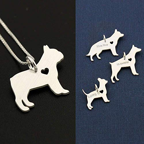 French Bulldog necklace sterling silver dog breeds pendant w/Heart - Love Pet Jewelry Italian chain Women Best Cute Gift, personalized and engravable