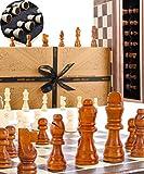 Juego de ajedrez Jaques - Conjunto de ajedrez Jaques Genuino Tallado a Mano con Tablero de ajedrez Plegable y Estuche