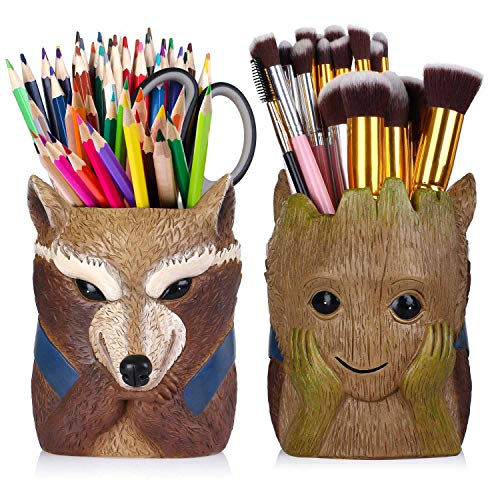 Pen Pencil Holder,Pen Holder Desk Organizer Decoration,Luxury Gift and Exquisite Handicraft (Rocket Raccoon)