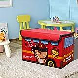 Baúl de juguetes con tapa abatible para niños plegable de almacenamiento para sala de juegos, armario y hogar (A)