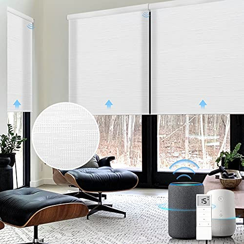 Graywind Motorized Light Filtering Shades Compatible with Alexa Google Rechargeable Remote Control Smart Blinds Automatic Window Shade with Valance for Home Office, Custom Size (Jacquard White)