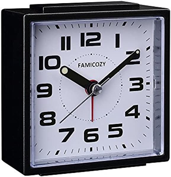 FAMICOZY Small Alarm Clock Quiet Non Ticking With Snooze And Backlight Crescendo Alarm Big Numbers For Easy Reading Analog Quartz Alarm Clock For Bedside Nightstand Battery Operated Black