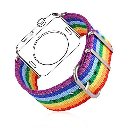 bandmax Correa para Watch Series 3/2 / 1 38mm LGBT Arco Iris Watchband Nailon Trenzado Denim Telas Reemplazo de Banda Correa para Apple Watch Todos Los Modelos (38mm,Arco Iris)