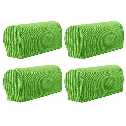 KYJSW 2 Paar Armlehnenbezug, Tartan Elastisch Armlehnenschoner, Stretch Anti-Rutsch Armlehnenbezüge Für Sessel, Sofa, Stuhl, Couch (Gras-Grün)