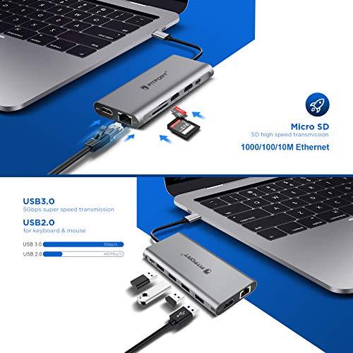 Docking Station, 12 Ports USB C Hub Triple-Display USB C Adapter mit Triple 4K-HDMI,Typ C PD,4 USB Ports,Gigablit Ethernet RJ45,SD/TF Kartenleser Kompatibel für MacBook Pro/Air und Mehr Typ C Geräte