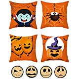Halloween Throw Pillow Cover Set 4Pcs Cushion Pillow Case Set Soft Pillowcase Set Pumpkin Pillow Covers Halloween Decorative Pillow Cases Set Almohada Decoración Cojines Cama 45X45cm, Style A