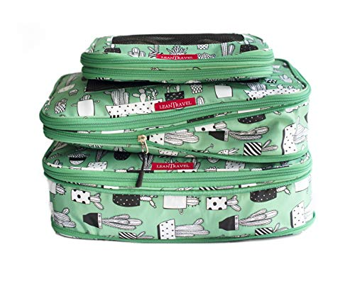 LeanTravel Compression Packing Cubes Luggage Organizers for Travel with Double Zipper - Set of 3 (Green Kids)