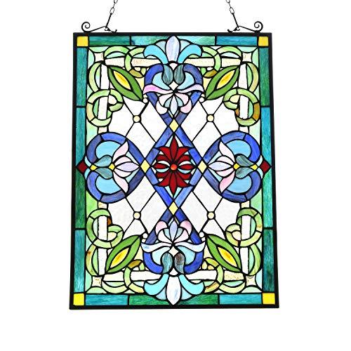 Artzone Buntglas-Scheibe, Tiffany-Fensterpaneel zum Aufhängen, viktorianischer Tiffany-Stil, Fenster-Panel, Mission Buntglas-Fenster-Aufhängung, Tiffany-Glasscheibe
