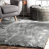 nuLOOM Cloud Faux Sheepskin Soft & Plush Shag Area Rug, 5' x 7', Grey