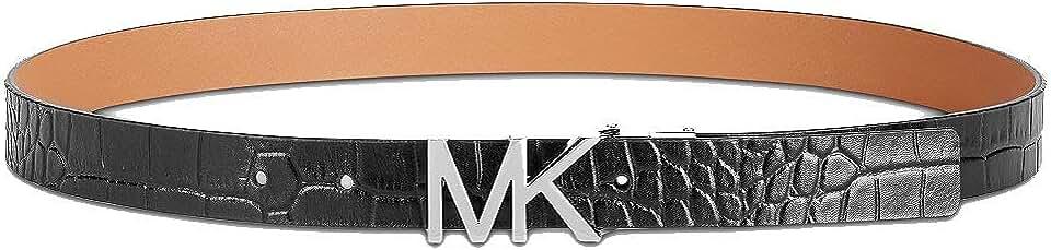 Michael Kors Croc Embossed Leather Belt (Black, L)