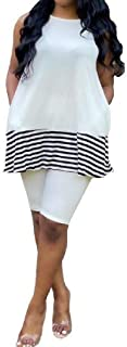 FSSE Women Biker Shorts Tank Top Summer Bodycon 2 Pcs Outfits Stripe Tracksuit Sets