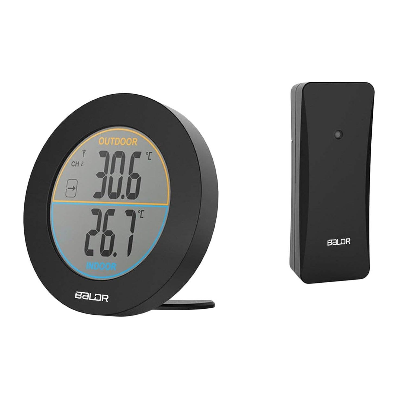 突っ込む消去時刻表Saikogoods バルドルB0127T2 ラウンドワイヤレス温度計表 屋内屋外用 LCDデジタルウォール温度計 黒