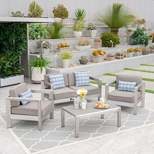 4pc Gray and Silver Contemporary Outdoor Chat Set 55.25'