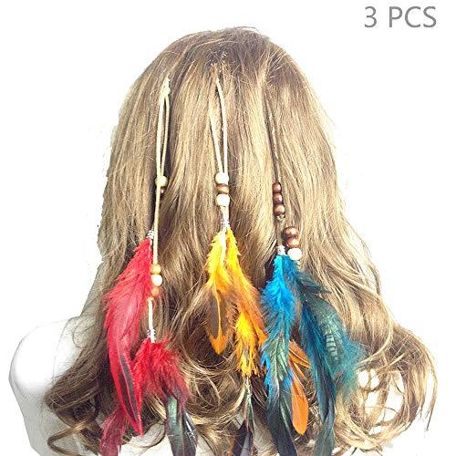 Jurxy Pinzas Pelo Plumas Mujer Conjunto 3 Hippie Boho