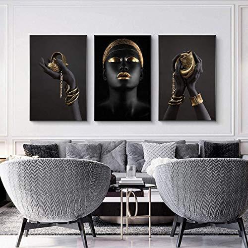 SHYJBH Lienzo Arte de la Pared Pulsera Impresión de Arte Pintura Dama Africana Mujeres de Piel Negra Imagen de la Pared de la Sala de Estar Decoración del hogar Poster3x 50x70cm sin Marco