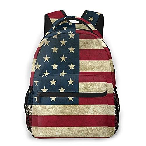 AOOEDM zaino vintage con bandiera degli Stati Uniti, borsa da viaggio portatile, zaino per computer portatile, borsa da scuola largecapacity e resistente, borsa per sport all'aria aperta ha pi?tasc