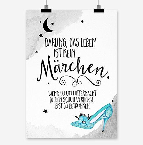 Prints Eisenherz Darling, DAS Leben IST KEIN MÄRCHEN Kunstdruck Poster (A3)