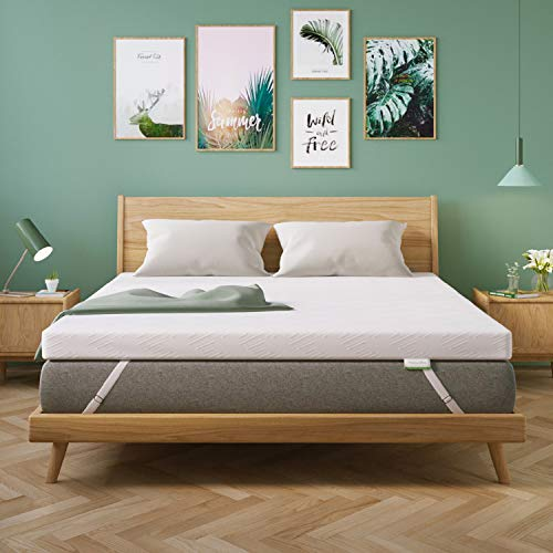 Novilla 2 Inch Gel Memory Foam Mattress Topper for Cooling Sleep & Pressure Relieving, Soft Queen Mattress Topper with Removable & Washable Bamboo Cover,Queen Size, Yozora