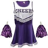Disfraz de animadora, disfraz de High School Musical, con pompones, Women's, color morado, tamaño X-Large