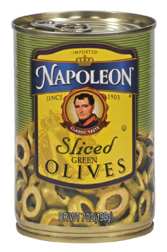 Napoleon Olives Sliced Green, 7-Ounce Cans (Pack of 12)