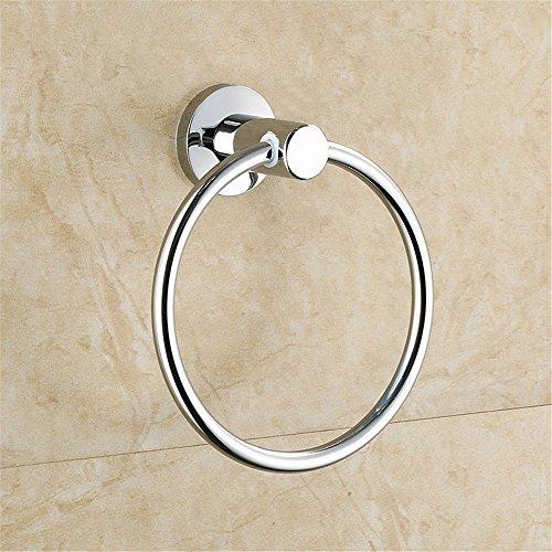 Toallero de pared para baño y cocina, chapado en rodio, anillo de acero inoxidable, toallero con revestimiento pulido
