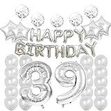 Decoración de cumpleaños 39, globos de cumpleaños 39, globos de plata de Mylar número 39, decoración de globos de látex, gran regalo de cumpleaños para niñas, accesorios de fotos